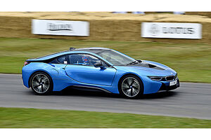 BMW i8 (Hybrid Supercar), 2015, Blue, & black