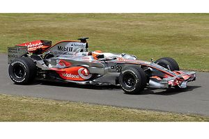 McLaren-Mercedes MP4-23 F1 car from 2008 ex-Lewis Hamilton, driven at FOS 09 by Pedro