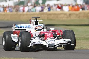 Toyota TF108 F1 car from 2008 season, driven at FOS 09 by Timo Glock, 2009 season
